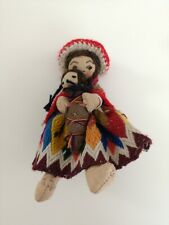 More details for vintage peruvian peru handmade plush cloth doll mother & baby