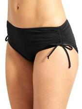V.M. Side Drawstring Plus Size Scrunch Bikini Swim  Bottom Black 20W M0137