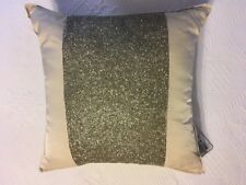 "HOTEL COLLECTION ""LUSTER"" CHAMPAGNE SILVER SEQUINS 16"" SQUARE DECORATIVE PILLOW"