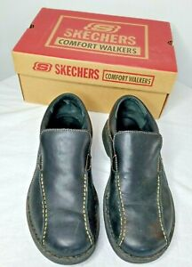 NEW Skechers Black Shoes Mens 10.5 Slip On Comfort Walkers Casual Leather Loafer