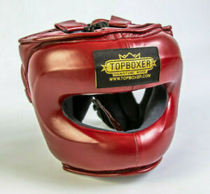 TopBoxer Facesaver Headguard. Leather Face Saver Head Guard. Winning Inspired.
