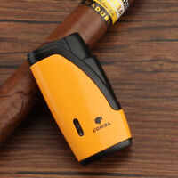 Cohiba Yellow Metal Cigar Lighter 2 Torch Jet Flame Cigarette Lighters W/ Punch