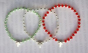 HANDMADE FACETED GLASS & SILVER BEAD STRETCH BRACELET - SILVER CROSS CHARM (107)