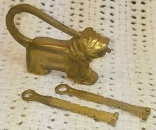 Antique Vintage Asian Chinese Fu Foo Dog Brass Lock & 2 Key Puzzle Lock Rare