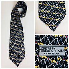 Threads of Silk Equestrian Necktie Tie Black Gold Red Silk   N33A