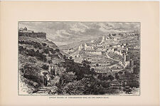Lower Valley of Jehoshaphat - Site of the King's Dale. Rare Antique Print. 1881.