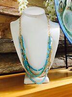 NEW Beach Tropical Blue Turquoise Gold Beaded Strand Tassel Necklace Bib Collar