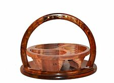Wooden Collapsible basket with Brass inlay- 12inc. 3 Compartment USA Seller