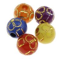 50 Acryl Perlen 10mm Gemischt mit Blume Schmuckherstellung Kunststoff BEST R325
