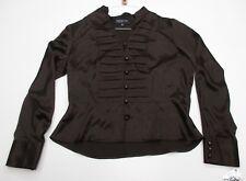 new JONES NEW YORK #L1809 Women's Size M Designer Button-Front Ruffled Brown Top