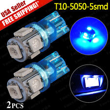 2 x Bright Blue LED T10 Wedge 194 2825 168 158 5-SMD - License Plate Light Bulbs