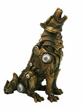 Steampunk Howling Alpha Wolf In Rustic Steel Gears Collectible Fantasy Figurine