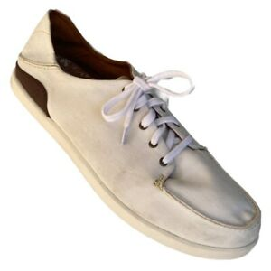 Olukai Mens Manoa Fashion Sneaker Shoes Ivory Brown  Leather Trim Lace Up 11