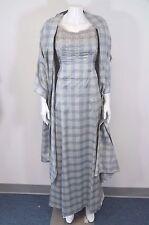 BADGLEY MISCHKA WOMEN'S SILK 2 PC BLUE PLAID DRESS SIZE 6  ON SALE DL