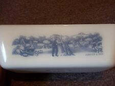 Currier & Ives Glasbake milkglass loaf dish J-522 Made in USA apx. 10x5