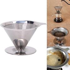 Reusable Stainless Steel Mesh Coffee Filter Paperless Pour Over Cone Dripper