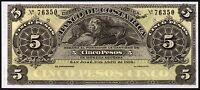 1899 COSTA RICA - BANCO DE COSTA RICA 5 PESOS BANKNOTE * aUNC * P-S163r1