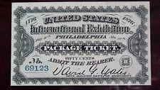 1876 INTERNATIONAL EXHIBITION - PHILADELPHIA - 50cents PACKAGE TICKET