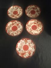More details for antique chinese plates saucers decorated bird flowers signed hand painted