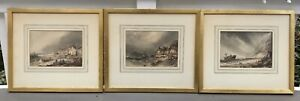 Group of Three Framed 19th C. British Seascape Watercolors Attr. Guy De Breanski