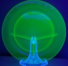 Vaseline Uranium Glass Dinner Plate Dish 3 Slot Divided Green Serving 10.5""