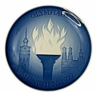 """Bing Grondahl Blue & White 7"""" Plate Oympic Games Munich 1972 First Issue"""