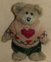 "Boyds Bear Matthew Plush Teddy Green Pants Red Heart Bearwear  8"""