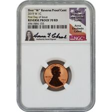 2019-W Lincoln Penny Reverse Proof NGC PF70 FDOI Label Anna Cabral Signature