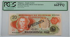 (1978) Philippines 20 Piso Specimen Note SCWPM# 162a-CS1 PCGS 66 PPQ Gem New