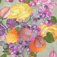 Fabric #2434 Taupe/Violet Lge Fruit/Leaf Print Yenter Sold by 1/2 Yd See Below