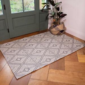 Scandi Grey Flatweave Rug Cotton Living Room Rugs Small Large Bedroom Mat Runner