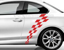 Bmw Serie 1 Auto Adhesivo Etiqueta, Checker Bandera accidentada lateral a rayas, gráfica