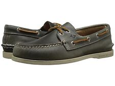 SPERRY 'A/O WATERLOO' 2-Eyelet Grey Men's Leather Boat Shoes  Sz. 9 M  NIB