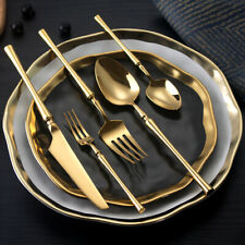 """Lehao, Premium Stainless Steel Flatware Cutlery Set(5 Piece): """"Solid Gold Color"""""""