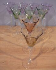 11 Multi Color Martini Glass Cordials twisted stem shot glasses