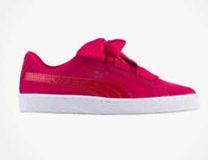 Puma Girls Suede Heart Snake Junior Sneakers Pink Size 5C