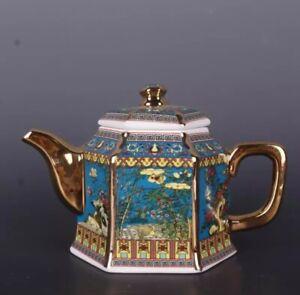 Qing Qianlong Painted Gold Enamel Teapot Porcelain Chinese Antique Reproduction