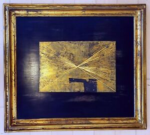 "MATHIAS GOERITZ 27.5"" x 23"" METALLIC GOLD ON WOOD SCULPTURE - RADIANCE -"