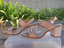 Pedro Garcia XANET Studded Vachetta/Suede Block Heel TanTaupe 37 1/2 MSRP$495