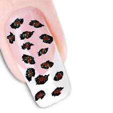 3D Nail Art Glitter Stickers Decals Animal Leopard Print Spots Black Red 202