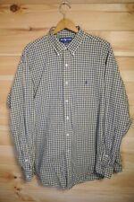 Ralph Lauren Blake Shirt XL Cotton Button Down Yellow Blue Check
