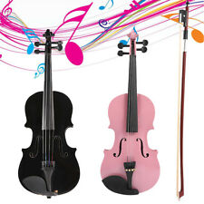 1/8 Size Gloss Natural Acoustic Violin Fiddle +Case Bow Rosin Musical Instrument