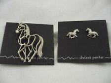 NOC Chelsea Pewter openwork metal horse brooch & pierced earrings horse lovers