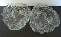 Loganberry Pattern Mint Bowls / Candy Dishes Indiana Glass Clear Lot of Two