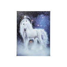 LED Enchanted Unicorn Blue Wall Canvas Picture Light up 40cm X 30cm