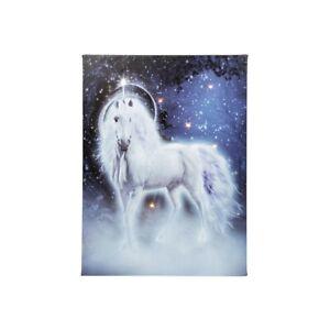 New Glitter Enchanted Unicorn LED Blue Wall Canvas 40cm x 30cm