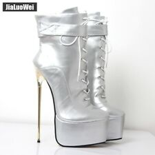 Cosplay Womens Super  High Heel Ankle Boots Platform Shiny Leather Lace Up Boots