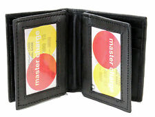 New Mens Bifold Genuine Leather ID Holder Mini Wallet Black Window Credit Card