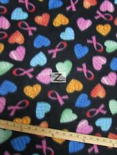 """CANCER AWARENESS PRINT FLEECE FABRIC - Heart Ribbons - 60"""" WIDTH SOLD BTY - 267"""