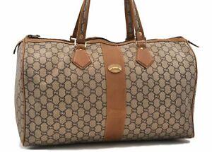 Authentic GUCCI GG Plus Boston Bag PVC Leather Brown Junk 0507A